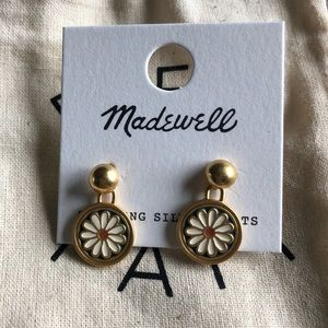 Madewell Enamel Flower Drop Stud Earrings